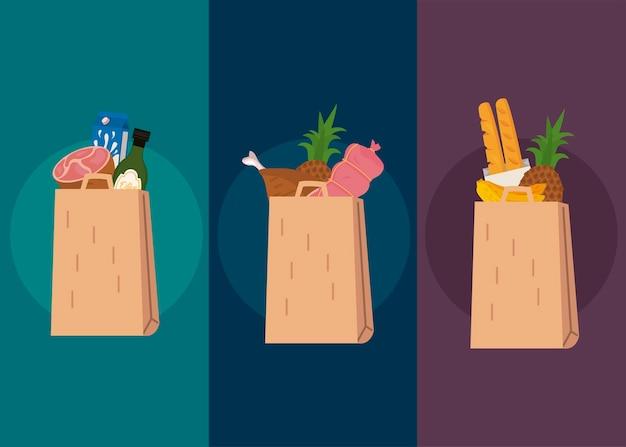 Set di borse della spesa con cibo