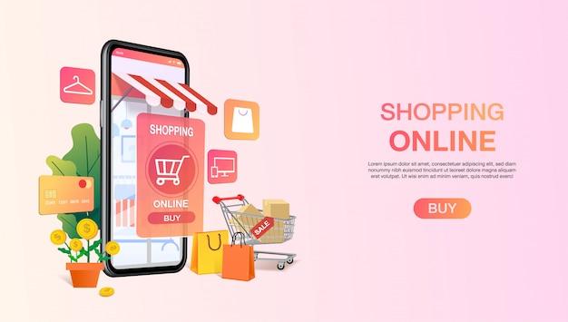 Borse per la spesa in un carrello fuori cellulare o smartphone. modello di sito web di shopping online. concetto di applicazione negozio mobile. marketing e marketing digitale. .
