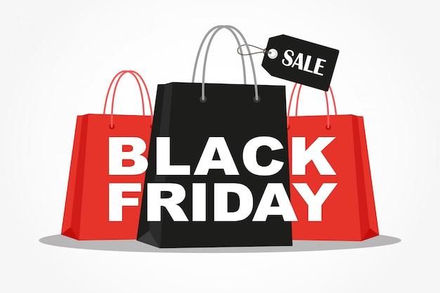 Borse per la spesa con la pubblicità di vendita di black friday