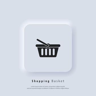 Icona del carrello della spesa. icona del pulsante aggiungi al carrello. logo del cestino della spesa. vettore. icona dell'interfaccia utente. pulsante web dell'interfaccia utente bianca ui ux neumorphic. neumorfismo