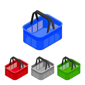 Cestino della spesa in supermercato e negozio. isometrico piatto. icona del carrello per negozi web. illustrazione vettoriale.