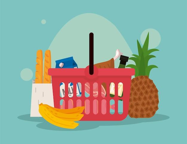 Cestino della spesa con cibo del mercato