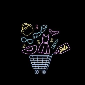 Cestino della spesa con abbigliamento e accessori da donna. banner pubblicitario al neon per la vendita del black friday.