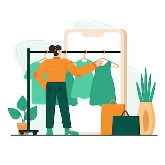 Shopping per telefono illustrazione piatta