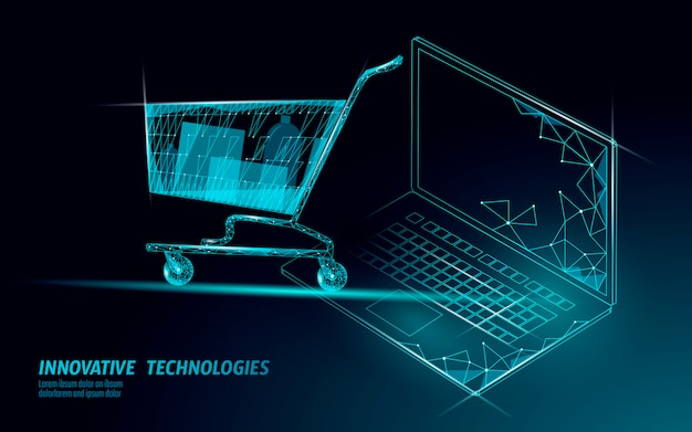 Carrello della spesa . vendita di laptop nel negozio online