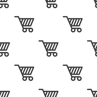 Carrello della spesa, motivo vettoriale senza soluzione di continuità, modificabile può essere utilizzato per sfondi di pagine web, riempimenti a motivo