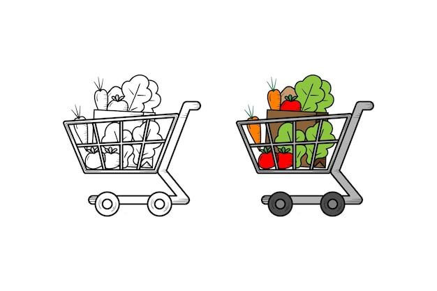Schizzo e colore dell'illustrazione disegnata a mano delle verdure del carrello della spesa