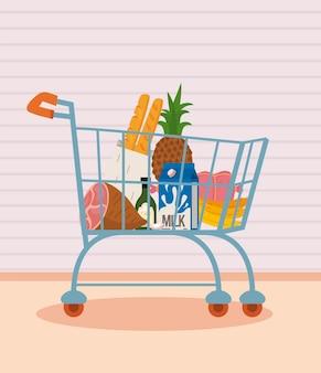 Carrello della spesa con cibo sano