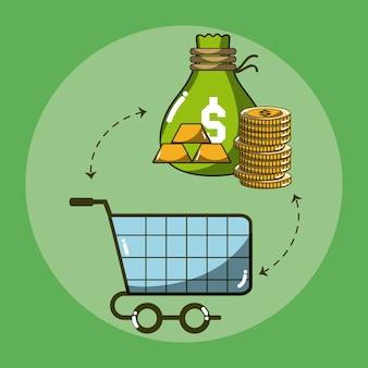 Carrello con progettazione grafica dell'illustrazione di vettore dei soldi