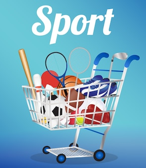 Carrello della spesa con attrezzature sportive all'interno