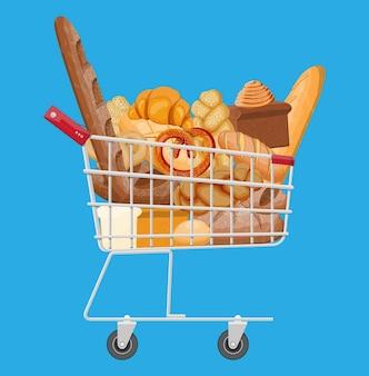 Carrello con pane di segale e frumento, pane tostato, pretzel, ciabatta, croissant, bagel, baguette francese, panino alla cannella.