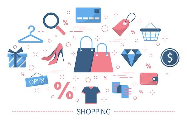 Concetto di acquisto. acquista merci in negozio, centro commerciale