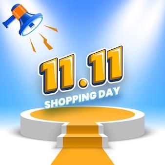 Banner di vendita del giorno dello shopping con podio rotondo e megafono illustrazione vettoriale