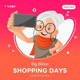 Modello di progettazione banner giorni di shopping con vecchia signora facendo clic su selfie