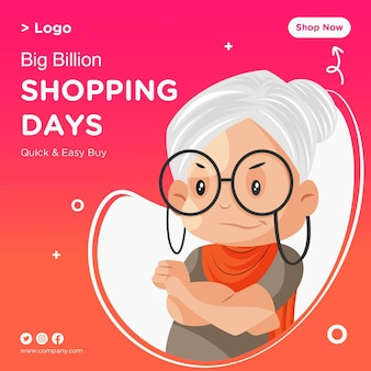 Shopping giorni banner design con vecchia signora