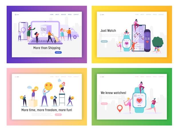 Set di modelli di pagina di destinazione del sito web di applicazioni per la consegna di acquisti, assistenza sanitaria e social media