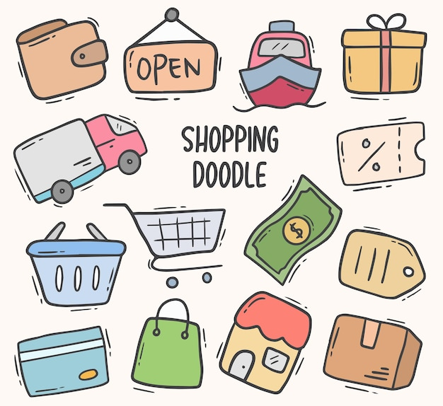 Shopping doodle elemento disegnato a mano Vettore Premium