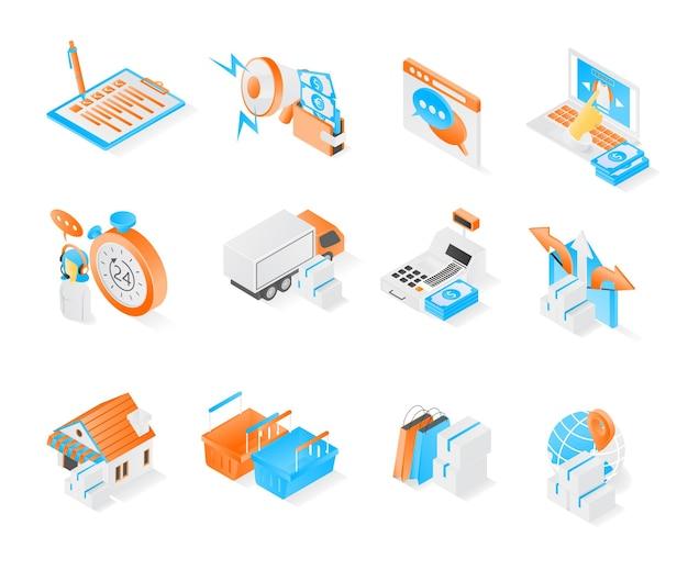 Icona dello shopping e dell'e-commerce con pacchetto di stile isometrico o set di vettore premium moderno