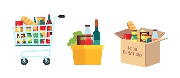 Carrelli per la spesa. negozio di alimentari, supermercato cesto pieno di prodotti. carretto del mercato isolato. scatola per donazioni con conserve. negozio e illustrazione vettoriale di beneficenza. cestino del supermercato