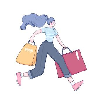 Fumetto della ragazza dello shopping.