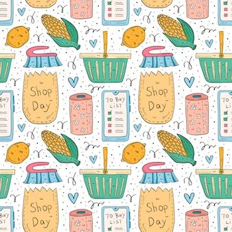 Modello senza cuciture di scarabocchio disegnato a mano di acquisto. isolato su sfondo bianco lista di controllo, mais, pacchetto, borsa, cestino, carta igienica, limone, pennello, app per smartphone.