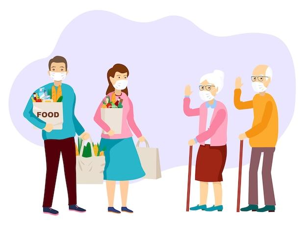 Aiuto per lo shopping. coppia di anziani in maschere per il viso che ricevono un sacchetto della spesa illustrazione vettoriale in stile cartone animato piatto.
