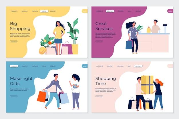 Pagine di destinazione dello shopping. personaggi dello shopping. persone in acquirenti di negozi boutique del mercato. clienti piatti con acquisti di regali di borse.