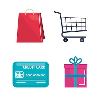 Shopping on line set icone