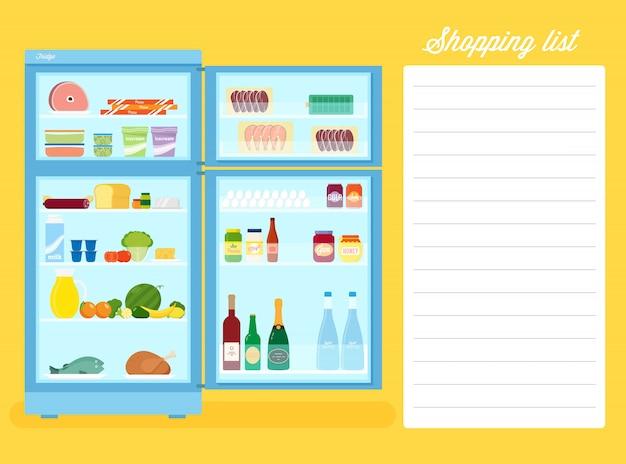 Illustrazione piana del frigorifero di stile della lista di acquisto con lo spazio del testo