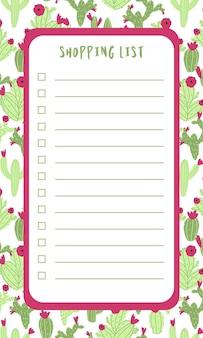 Lista della spesa con cactus in mano disegnato cartone animato stile scarabocchio pianificazione fissa pianificazione giornaliera