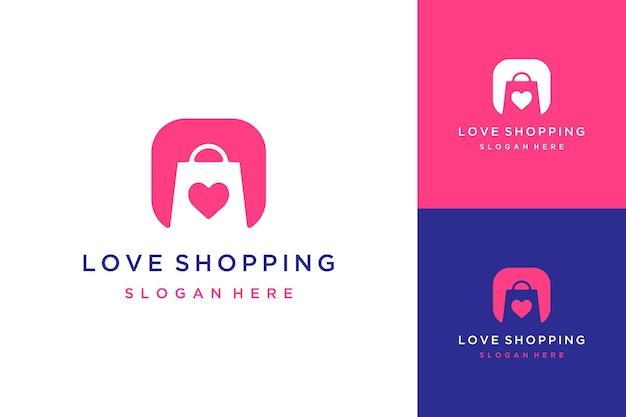 Shopping logo design o shopping bag con cuore