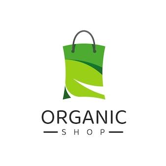 Shopping logo design template, organic, natural, herbal store logo