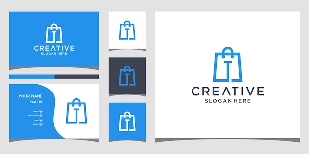Logo dello shopping design del logo della lettera iniziale con modello di biglietto da visita