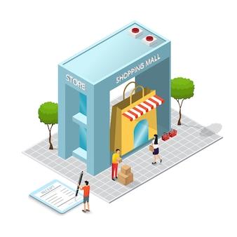 L'edificio del centro commerciale e il concetto di consumatore. costruzione di negozi. isometria e progettazione 3d. modello di negozio con acquisti e merci.