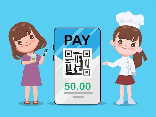 Shopping e concetto a pagamento mobile. scansiona il codice qr con lo smartphone per il pagamento.