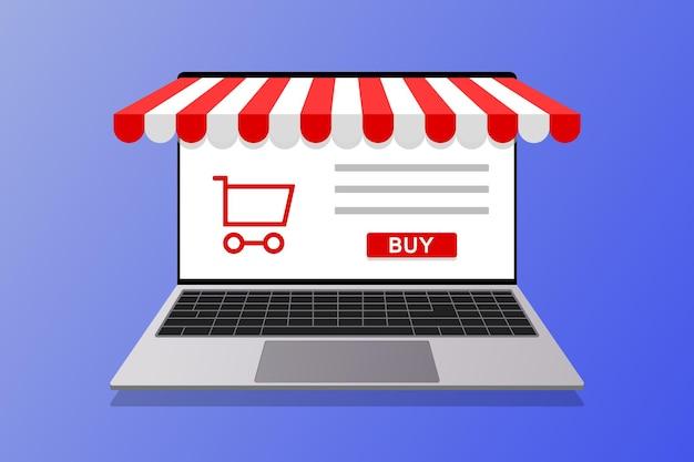 Acquisti online concept marketing e digital marketing. negozio in linea, illustrazione del computer portatile