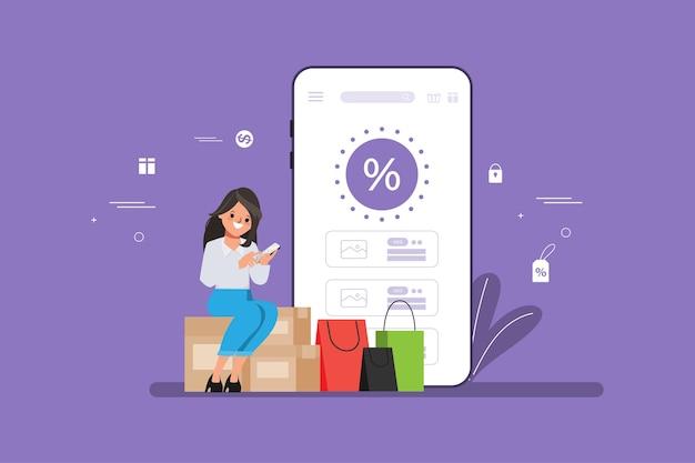 Shopping online concetto con ragazza seduta