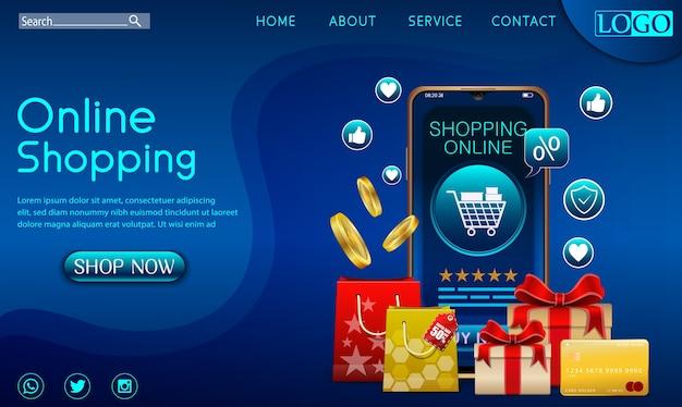Shopping online concetto di design su applicazione mobile con doni