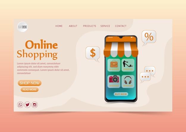 Shopping online concetto di design su applicazione mobile