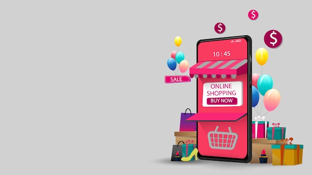 Acquisti online su mobile marketing concept e digital