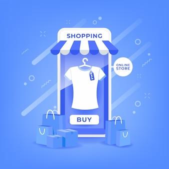 Acquisti online su un'applicazione mobile. marketing e concetto di marketing digitale.