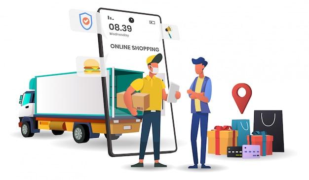 Acquisti online su applicazioni mobili con truck concept digital