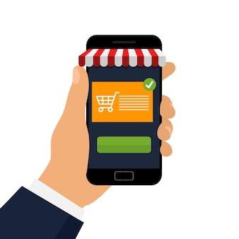 Acquisti online su un'applicazione mobile.