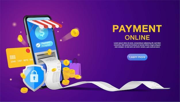Acquisti online e pagamenti online su siti web o applicazioni mobili banner concept marketing e marketing digitale.