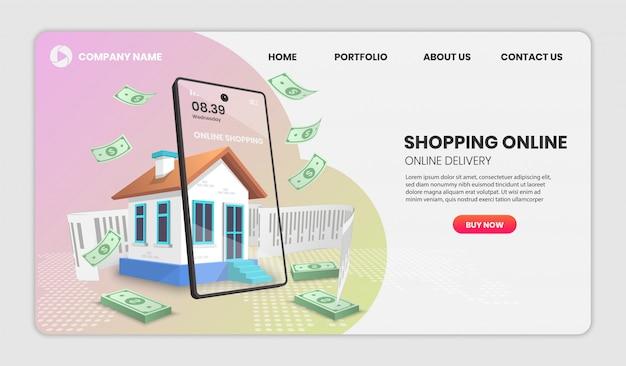 Acquisti online con il concetto di casa. servizio di consegna online
