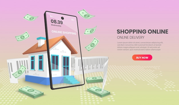 Shopping online con negozio al dettaglio vettoriale. concetto di smartphone negozio online adatto per l'applicazione banner.