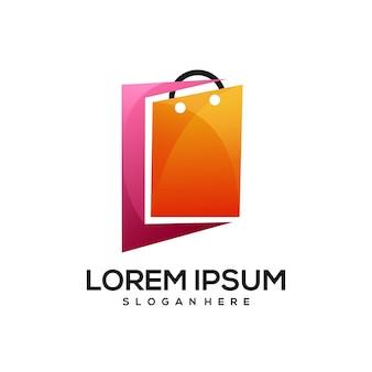 Shopping bag di carta sfumato colorato gradient
