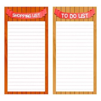 Lista di carta della spesa e per fare modello, pianificatore giallo libro di testo di concetto, fondo di legno