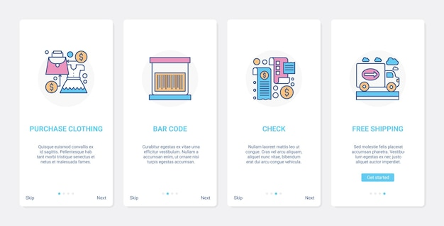 Acquisto di pagamento e tecnologia di consegna ux ui onboarding set di schermate della pagina dell'app mobile