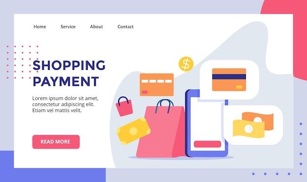 La banca della carta dei soldi di pagamento dello shopping in mostra la campagna per smartphone per il modello di pagina di destinazione della home page del sito web